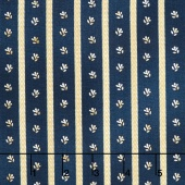 Liberty Hill - Twill Daisy Stripe Dark Blue Yardage