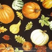 Autumn Bounty - Tossed Gourds & Leaves Black Metallic Yardage