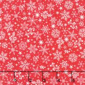 Scandi - Snowflakes Red Yardage