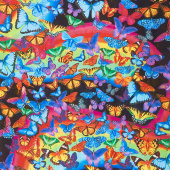 Novelty - Bright Rainbow Butterflies Multi Yardage