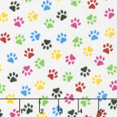 Somebody to Love - Paw Print Multi Yardage