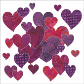 Bohemian Chic Fuchsia Hearts Fusible Appliqué Shapes