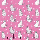 Catnip - Happy Cats Fuschia Yardage