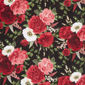 Carina - All Over Peony and Anemone Black Yardage