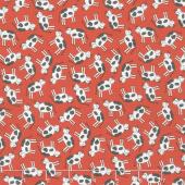 Animal Crackers - Cows Apple Red Yardage