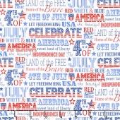 Sweet Land of Liberty - Words White Multi Yardage