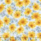 Gardenside Path - Cluster Flowers Sky Yardage