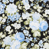 Blue Symphony - Garden Black Metallic Yardage