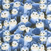 Cat-i-tude 2 - Sweetheart Cats Blue Metallic Yardage