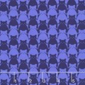 Kitty Kitty - Tonal Cat Blue Yardage