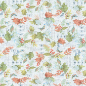 Seeds of Gratitude - Leaves Allover Blue Yardage