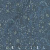 Plant Kindness - Stitched Flower Stripe Navy Yardage