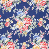 Cherry Lemonade - Large Bouquet Blue Yardage
