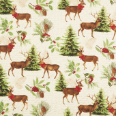 Festive Forest - Large Allover Tan Yardage