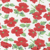 Feed Sacks: Red Rover - Prairie Rose Ruby Off White Yardage