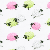 Mama Lal - Leaping Sheep White Pink Yardage