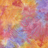 Tonga Batiks - Colorwheel Rainbow Dotty Spiral Sunset Yardage