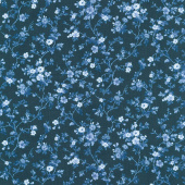 Silver Jubilee - Viney Daisy Navy Yardage