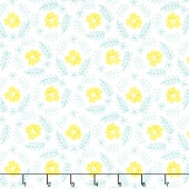 Flutter & Buzz - Floral Wreath Turquoise Yardage