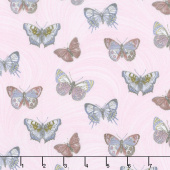 Totally Tulips - Pink & Grey Butterfly Wave Light Pink Pearlized Yardage