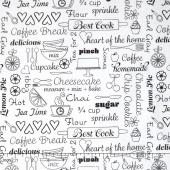 Kitchen Love - Delicious Words White Yardage