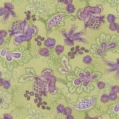 Aubergine - Elegant Paisley Olive Yardage