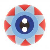 """Kaffe Fassett Button - 3/4"""" Red Multi Star Flower"""