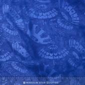 Lotus Blooms Batiks - Umbrella Blueberry Yardage