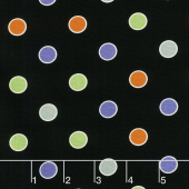 Ghostly Glow Town - Dot Black Glow in the Dark Yardage