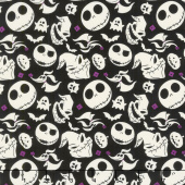Jack is Back - Tim Burton's The Nightmare Before Christmas Heads Tossed Black Yardage