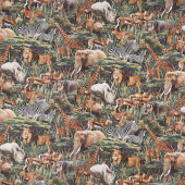 Savanna - Packed Animals Black Multi Digitally Printed Yardage
