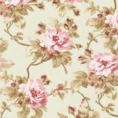 Burgundy & Blush - Trailing Roses Soft Green Yardage