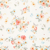 Gingham Gardens - Main Cream Yardage