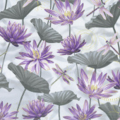 Dragonfly Dance - Purple Water Lily Pool Gray Purple Metallic Yardage