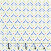Home Grown - Floret Cream Blue Yardage