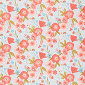 Petals and Pots - Main Blue Yardage