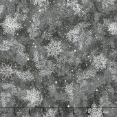 Holiday Flourish 10 - Scarlet Snowflakes Flurry Ebony Metallic Yardage
