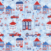 Patriotic Parade - Town Parade Light Blue Yardage