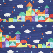 The Very Hungry Caterpillar - Bright Castle Stripe Dark Blue Yardage