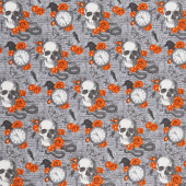Wicked - Skulls and Roses Gray Multi Yardage