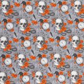 Wicked - Skulls and Roses Gray Multi Yardage