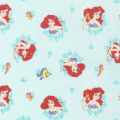 Disney Forever Princess - Ariel in Wreaths in Light Turquoise Yardage