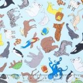 We Share One World - Animals Aqua Yardage