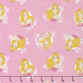Disney Forever Princess - Princess Aurora in Circles in Pink Yardage