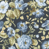 English Countryside - Focal Floral Navy Yardage