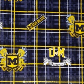 College - University of Michigan Plaid Yardage