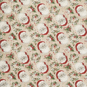 Vintage Christmas - Santa Toile Cream Yardage