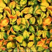 Flowers of the Sun - Large Leaves Black Yardage