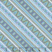 Arctic Wonderland - Diagonal Stripe Gray/Teal Yardage