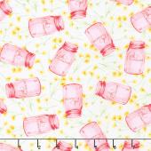 Cottage Joy - Flower Jars Pink Yardage